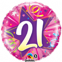"21 Hot Pink Birthday Foil Balloon (18"") 1pc"